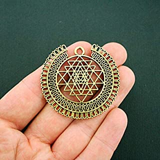 2 Sri Yantra Meditation Pendant Charms Antique Gold Tone Sri Chakra DIY Crafting by Wholesale Charms