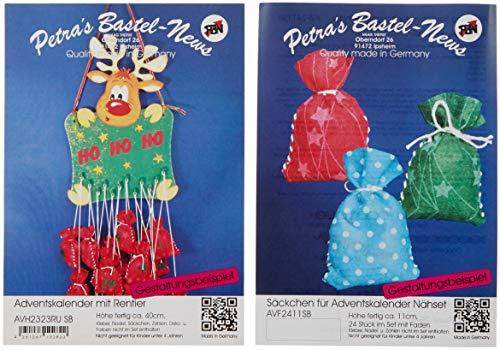 Petra's Bastel News Bastelset für Adventskalender Rentier inkl. Holzteile, Adventskalenderzahlen aus Filz, Holz, Holzfarben, 22 x 32 x 11 cm