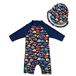 upandfast Baby/Toddler One Piece Zip Sunsuits with Sun Hat UPF...