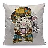 Bonitas fundas de almohada de oveja con gafas, bufanda de punto y gorro a cuadros, oveja vestida se burla y muestra la lengua Funda de almohada Cojín cuadrado de lino de algodón Cojín decorativo para