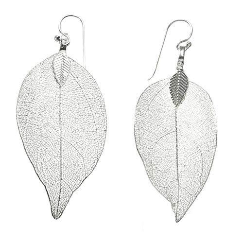 Pendientes hojas naturales bañadas Plata Ley