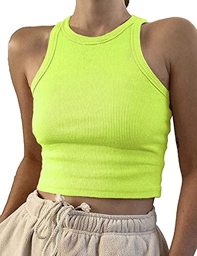 Artfish Women Casual Basic Sleeveless High Neck Rib-Knit Front Racerback Crop Tank Top Neon Lime Green, M