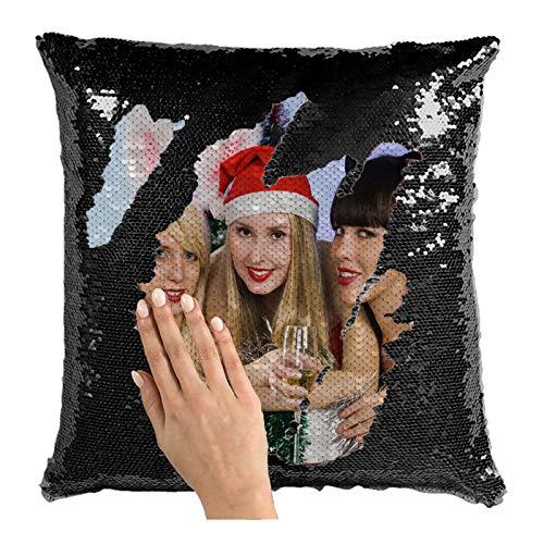 Cuscini Con Immagine Cuscino Personalizzato Con Paillettes Cuscino Personalizzato Con Foto Cuscino Magico Con Immagine Cuscino Con Regalo Di Ringraziamento Di Natale(Nero Monofacciale 16*16IN)