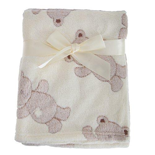 Snuggle Baby - Manta con estampado de osos de peluche para bebé (75cm x 100cm/Crema)