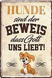 Blechschilder Divertido diseño de perro y texto en alemán 'Hund sind der Beweis,...
