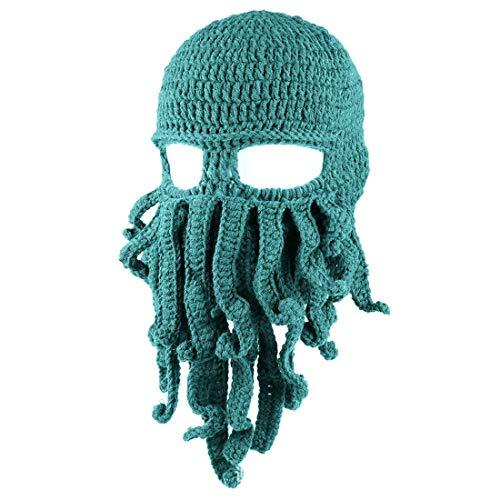 Queenbox Tentacle Octopus Balaclava Woolen Novelty Hat Unisex Windproof Ski Face Mask Beard Squid Cap for Baby Boy Girl, Peacock Blue