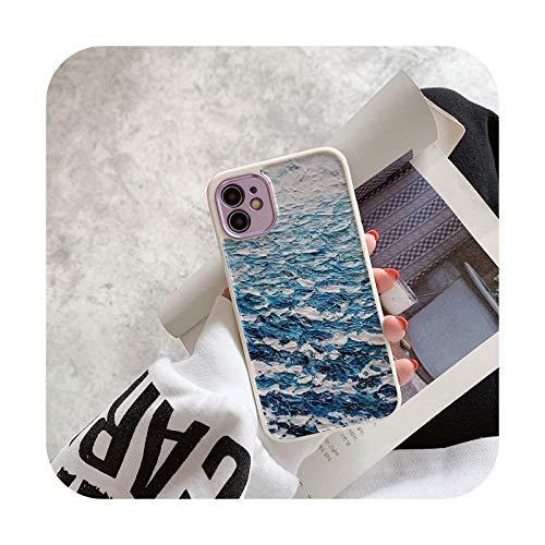 Para iPhone 12 Pro Case Heart Flowers Funda para iPhone 12 Mini 11 Pro Max 8 7 Plus X XS Max XR Mármol Suave TPU Bumper Cover -T13-Para iphone 11