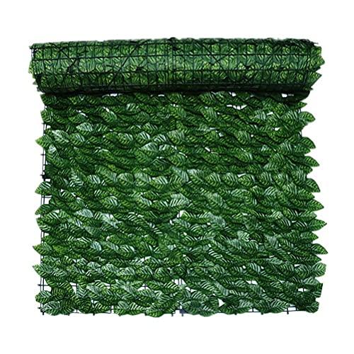 Doherty Valla de privacidad artificial de hiedra – Paneles de valla de plástico verde para hojas de seto artificiales, pantalla de privacidad para decoración de jardín al aire libre