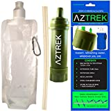 Aztrek Compact Mini Outdoor Water Filtration Drinking Kit - Camping Water Purifier - Hiking Trekking Emergency - No Chemicals - Mini Portable Water Filter System - Water Purification - Drink Straw