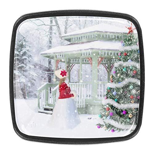 4 pomos decorativos para armarios de muebles, puertas, cajones, cuadrados, tiradores de herrajes, árbol de Navidad, invierno, nieve