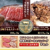 新垣ミート 《ステーキ&ハンバーグBセット》宮崎牛ももステーキ200g×2枚+宮崎牛 霜降りハンバーグ120g×2個