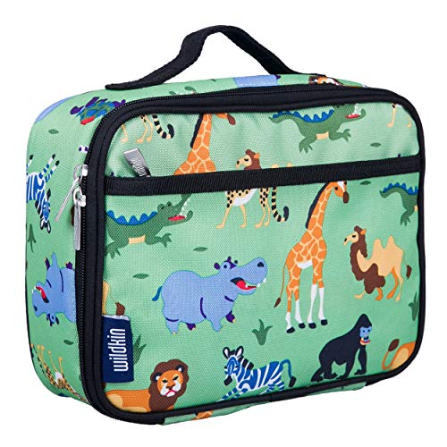 Wildkin Kids Insulated Lunch Box Bag for Boys and Girls, Perfect Size for Packing Hot or Cold Snacks for School and Travel, Mom's Choice Award Winner, BPA-free, Olive Kids (Wild Animals)