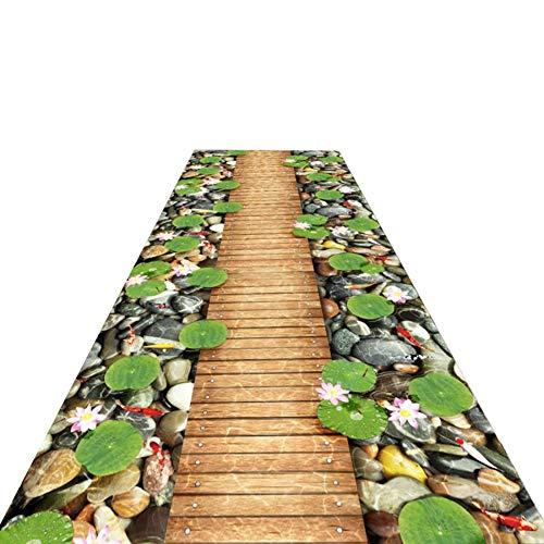 Flur Teppich Läufer Extralange Bereich Teppich for Outdoor/Indoor - Teich Holzbrücke Entwurf, Multi Non Skid Teppichmatten for Patio-Garten-Deck Hinterhof (Size : W120cm x H700cm)