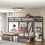 Full Over Twin & Twin Bunk Bed, Triple Bunk Beds with Drawers and Guardrails,Wooden Bunk Beds with Storage for Kids, Teens, Adults (Gray with Drawers)