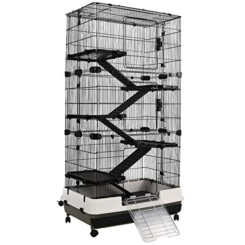 PawHut Rolling Small Animal Rabbit Cage for Bunny, Chinchillas, & Gerbils with a Large Living Space 28.75' x 18' x 53.5'