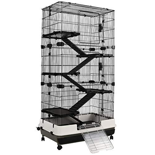 Pawhut Kleintierkaninchen Käfig Meerschweinchen Chinchillas Stall Tierspielhaus mit Plattform Rampe Abnehmbares Tablett Stahl PP 80x52,7x151 cm