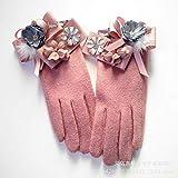 Hanggg Corea guantes de pantalla táctil cinco dedos flores de lana cinta arco bola de pelo gruesos guantes cálidos rosas mujeres
