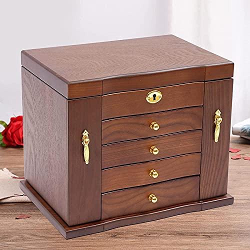 10 caja de almacenamiento de joyas de madera, caja de almacenamiento de joyas de madera retro de 5 capas con loca de espejo Reloj de joyería