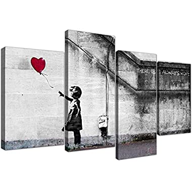 Large Banksy Balloon Girl Canvas Wall Art - Red Heart Split Set 4 Pictures - 130cm/51 Wide - Prints - There is Always Hope