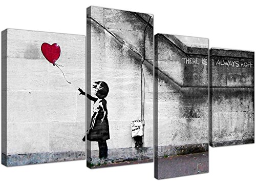 Wallfillers Canvas Kunstdruck auf Leinwand Motiv: Banksy Balloon Girl 4050