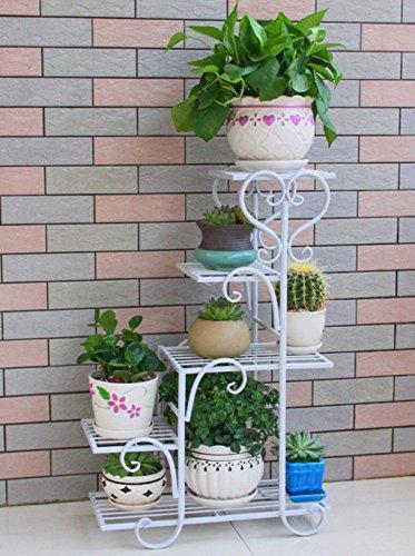 TtYj-- Soporte de flores multifuncional, soporte para macetas de varios pisos, estante para acabado de sala de estar (color: blanco, tamaño: 48 x 23 x 75 cm)