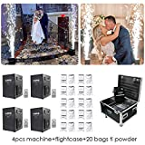 V-Show 750W Stage Special Effect Machine for Wedding Party Machine 4 Pack +20 Bags Ti Powder Controlled by DMX-512 or Remote, Use in Big Show,Banquet, Concert (with Flightcase)