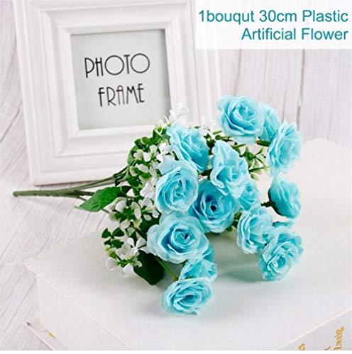XCVB 30 cmRose 1 Boeket 15 BloemhoofdKunstzijde Bloemtakken NepbloemenKunstbloemen Voor Decor Bruiloft, Blauw
