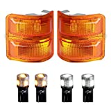 HERCOO Amber Side Mirror Marker Lights Lens w/LED Compatible with 2008-2016 F250 F350 F450 Super Duty Turn Signal Aftermarket Replacement, Qty: 2, Amber & White
