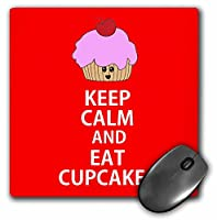 3drose Keep Calm and Eat Cupcakesレッド–マウスパッド