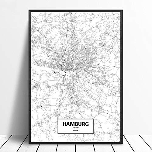 Leinwanddruck,Hamburg Deutschland Schwarz Weiß Benutzerdefinierte Welt Stadtplan Poster Drucken Sie Bilder Auf Leinwand Im Nordischen Stil Wand Kunst Für Wohnkultur Gemälde Kein Rahmen, 8 X 12 Zoll