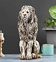 "Karigar Shop 15"" Handmade Lion Sitting Statue Stone Finish Animal Figurines Gifts Antique Design for Home Decoration,..."
