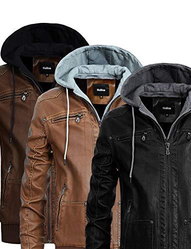 Hoffen Premium Vegan Leather Jacket for Men with Detachable Hood (S/US XS, Classy Model - Brown)