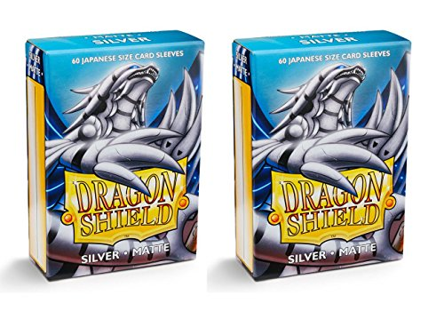 Dragon Shield Bundle: 2 Packs of 60 Count Japanese Size Mini Matte Card Sleeves - Matte Silver