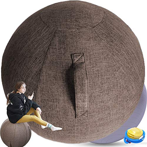 Sedia Ufficio Ergonomica Palla Fitness PilatesPiccolaGrandePalla per Gravidanza 55 Cm Antiscoppio per FitballSedia Palla per Addominali Ginnastica,Brown-55