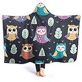 321DESIGN Owl Cartoon Partten Wearable BlanketFleece Hooded Robe Cloak Throw Quilt Poncho Microfiber Sherpa Plush Warm Wrap Multiple-Size Teen Size 60 x 50 Inch