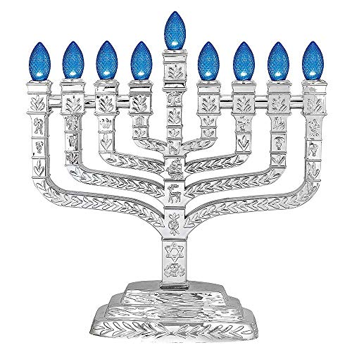 Metallic Silver L.E.D. Electric Hanukkah Menorah - Knesset Style with 12 Tribes - Powered by USB Cord Included