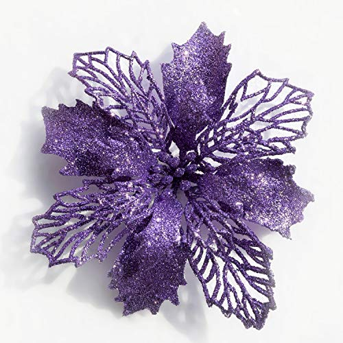Poinsettia Christmas Decorations Christmas Flowers Glitter Christmas Tree Decorations and Ornaments (12 Pack)(Purple)