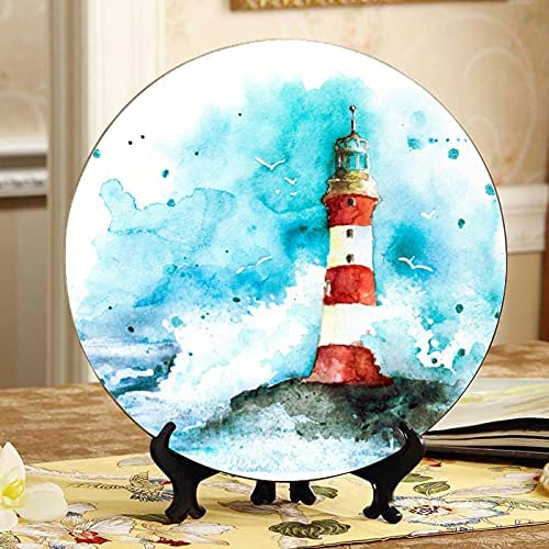 AQQA Lighthouse Under The Starry Ceramic New mail order Plates K Colorful Ultra-Cheap Deals Night
