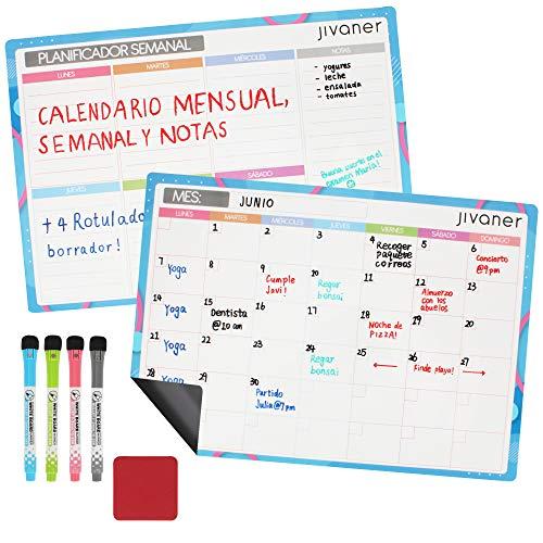 JIVANER Calendario magnético para Nevera en español - 2 x Pizarras magnéticas Blancas DIN A3 para menú y organización mensual y semanal - Planificador Mes y Semana, 4 rotuladores y Borrador