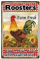 オンドリファーム新鮮な卵牛乳と野菜農家、ブリキサインヴィンテージ面白い生き物鉄の絵画金属板ノベルティ