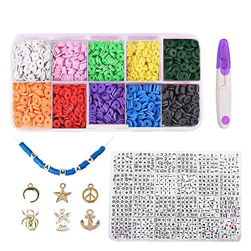 1500 cuentas redondas de arcilla de 6 mm, cuentas planas de disco para hacer joyas, cuentas de disco Heishi para pulseras, pendientes y collares
