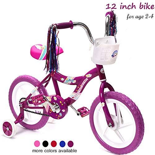 ChromeWheels Kids' Bike with Training Wheels and EVA Tire, Girls Bike for 2-4 Years Old, Purple