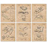 Vintage Nintendo Patent Poster Prints, 6 (8x10) Unframed Photos, Wall Art Decor Gifts Under 25 for Home, Office, Garage, Man Cave, Shop, College Student, Teacher, Comic-Con & Movies Fan