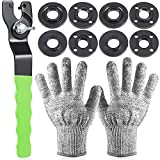 Angle Grinder Flange Wrench Spanner and 8 Pieces Metal Inner Outer Lock Nut with 2 Pieces Gloves Compatible with Milwaukee 193465-4 Bosch Black Decker Ryobi Makita Parts (5/8 Inches)