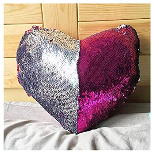 Elogoog Love Shape Double Color Reversible Sequins Mermaid Sofa Bed Pillow Case Zippered Square Decoration Cushion Covers (14 x 16 Inches, Love Series_C)