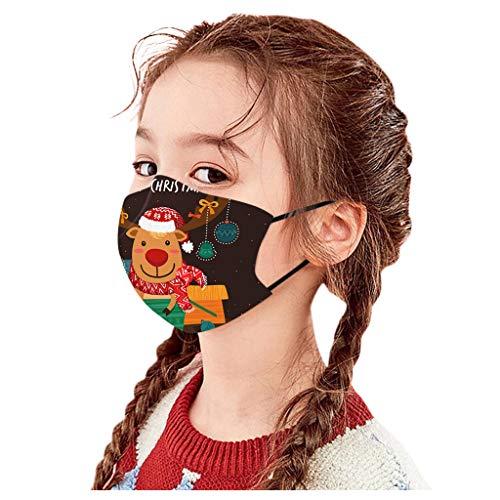 Sllowwa Bandana Mundschutz 1pc Kinder Kid Child's Christmas Pollution Wiederverwendbare Multifunktionstuch 3D Cartoon Druck Waschbar Mund-nasenschutz Halstuch Jungen Mädchen (B)