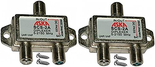 Two Heavy Duty Diplexer 2 Way Splitters Satellite Cable TV Dish Approved