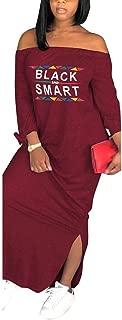 Womens Casual Maxi Dress - Loose Letter Print Off Shoulder Long Sleeve Side Slit Long T Shirt Dress Party Clubwear