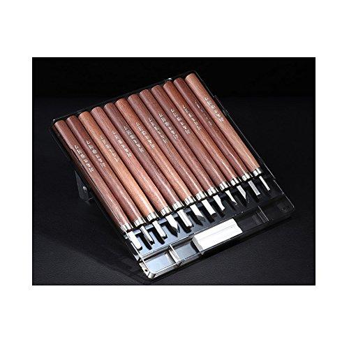 Paracity Professional Lot de ciseaux à bois pour sculpture avec manche en acajou, 12 pièces en acier au carbone SK7 pour menuiserie et travaux manuels, Pour débutants et amateurs