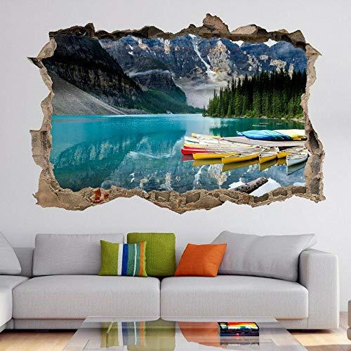 Canadá montañas lago barcos arte de la pared pegatinas mural calcomanía decoración de la oficina en casa- HABITACIÓN Dormitorio Cocina-50x70cm